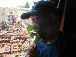 Me Sniffing Mint at Tannery Fes